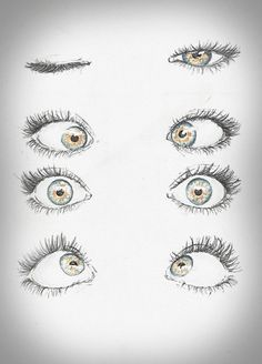 Simple eye drawings depicting ways in which the gaze can be directed, from the shut lids, to the wide open eye.  - Eyes are the windows to the soul. There's no person in the world who doesn't know this common wisdom, which is actually quite true. Eyes are the most expressive part of the human face, they reveal our feelings and our state of spirit. If we tell lies, eyes can reveal the truth, if we feel happy, eyes start to glow. Besides the myriad of idioms, poems, songs dedicated to the…
