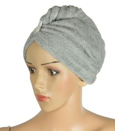 Hair Towel Wrap Gray Cotton Twist Super Absorbent With Non Slip Loop #hairtowel