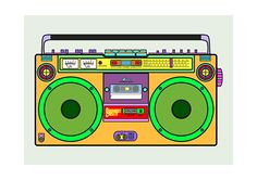 A collection of prints, these are the first three. Based on the old skool classic boombox. Disco Theme Parties, 80s Party Decorations, Party Themes, Hip Hop Party, 90s Theme, London Christmas, Retro Waves, Instruments, Boombox