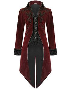 Mens Steampunk Tailcoat Jacket Red Velvet Goth VTG Victorian ...