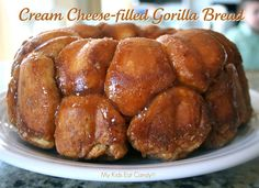 "I was looking for gorilla crafts for story time and ran across this recipe for ""gorilla bread""... which i've heard called Monkey Bread.  (it's about half way down the page)"