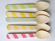 eco friendly wooden ice cream spoons: stripes