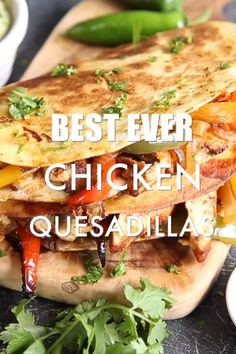 Chicken Quesadillas - Best Ever Chicken Quesadillas Recipes These Chicken Quesadillas are easy, cheesy and packed full of flavour. Here I'll show you just a few tips & tricks to make the best chicken quesadillas imaginable! Mexican Food Recipes, Yummy Recipes, Dinner Recipes, Cooking Recipes, Yummy Food, Healthy Recipes, Cooking Food, Meat Recipes, Griddle Recipes