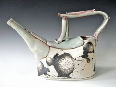 Laura B. Cooper - Hand Built Porcelain Watering Can… Pottery Teapots, Teapots And Cups, Ceramic Teapots, Ceramic Pottery, Ceramic Art, Pottery Art, Ceramic Techniques, Ceramic Pitcher, Tea Art
