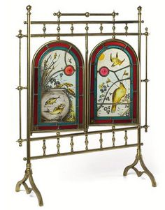 Aesthetic Movement Stained Glass Brass Fire Screen, Fish & Birds