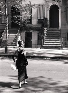 Audrey Hepburn filming Breakfast at Tiffany's, 1960 | From a unique collection of black and white photography at https://www.1stdibs.com/art/photography/black-white-photography/