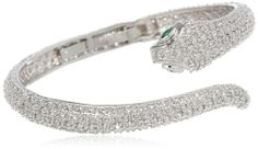 """CZ by Kenneth Jay Lane """"Trend"""" 15cttw Hinge Serpant Cuff Bracelet, 2.5"""" CZ by Kenneth Jay Lane,http://www.amazon.com/dp/B00D89NQ7Y/ref=cm_sw_r_pi_dp_fWsptb06HPR7P6Q8"""