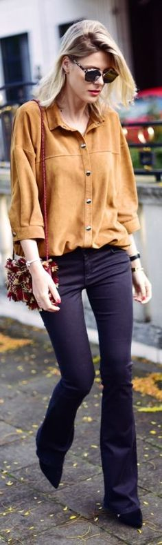 Suede Button Down Fall Inspo #Fashionistas
