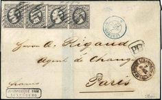 Luxembourg 1857.10 C. Wilhelm in the horizontal strip of four on bank letter from Luxembourg to Paris, strips having full margins, left stamp cliché a ...