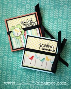 materials: 12″ x 12″ cardstock (one sheet makes an album for 7 photos) patterned paper for cover glue dots or other adhesive cardstock to back pictures in ribbon alphabet stickers, rub-ons or paper to print out sayings punches to decorate cover how to: [one] cut 4″ x 12″ paper strips out of cardstock (three 4″x12″ …