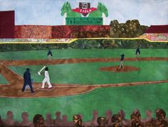 """Take Me Out to the Ball Game"" Art Quilt Wall Hanging by Pam Geisel 