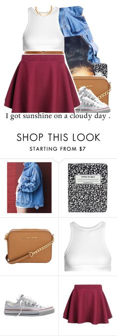 """back to school pt5"" by trinityannetrinity ❤ liked on Polyvore featuring Kate Spade, Michael Kors, T By Alexander Wang and Converse"