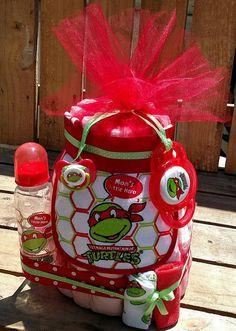 Red Raphael TMNT Teenage Mutant Ninja Turtles Baby Boy Diaper Cake. Gift! Baby  Shower