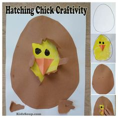 Children will love to help the chick hatch from the egg with this simple chick hatching activity and craft (our inspitation for this craft came from here). Use the craftivity to talk about how the chick grows inside the egg. Image only. Kids Crafts, Egg Crafts, Toddler Crafts, Easter Crafts, Kindergarten Art, Preschool Crafts, Spring Craft Preschool, Easter Activities, Preschool Activities