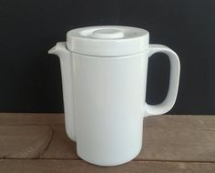 White Porcelain MidCentury Modern Tea Pot Art Deco by EamesMeme, $30.00
