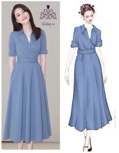 Pin by Luzangery Santana on Ropa para hacer in 2019 Modest Dresses, Simple Dresses, Pretty Dresses, Beautiful Dresses, Casual Dresses, Modest Fashion, Fashion Dresses, Mode Kpop, Sunday Dress