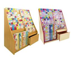 700 Series 13 Tier Card Rack with Stock Drawer & Gift Wrap Roll - L1200mm
