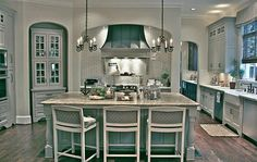 Look at this to die for Tiffany blue kitchen!
