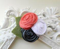 Spring Headband - Baby Headband Coral - Newborn Headband - Photo Prop - Fabric Rosette. $14.00, via Etsy.