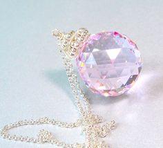 Crystal Ball Necklace, Swarovski Prism Suncatcher Necklace, 20mm Rose Pink Crystal, Onion Briolette, Made to Order on Etsy, $63.00