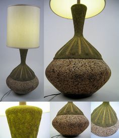 Love It or Hate It? Cork and ceramic 70's lamp at  Etsy.    Via http://www.etsy.com/listing/94487471/vintage-laurel-cork-and-ceramic-organic