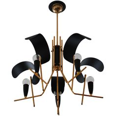 """stilux chandelier - italy - c1950 -height: 19 in. (48 cm)  diameter: 22 in. (56 cm) - Finish:  Painted aluminum and brass  drop: 3"""" - via the collection los angeles, ref. : U12060987561024 -"""