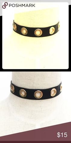 Black Velvet Choker withGold Rivet Detail Right on trend for fall, this black velvet choker with gold rivet details will add instant boho charm to any look!! Sturdy metal Clasp, gold metal Details. All jewelry comes in protective dust bag inside a unique, one of a kind storage box!! Makes a great gift!!! Color ME Crazy Boutique Jewelry Necklaces
