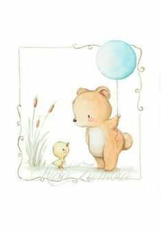 Bear illustration with balloon Nursery Prints, Nursery Art, Baby Illustration, Illustrations, Balloon Illustration, Cute Drawings, Animal Drawings, Cute Images, Cute Pictures