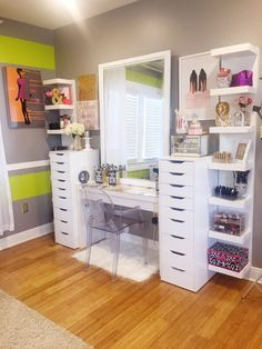 Diy Makeup Vanity With Ikea Pieces Desk Organization
