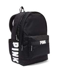 Brand New Victoria's Secret PINK Campus Backpack Black Brandneu Victoria's Secret PINK Campus Rucksack Schwarz Mochila Victoria Secret, Victoria Secret Backpack, Victoria Secret Pink, Mochila Adidas, Cute Backpacks For School, Stylish Backpacks, Pink Backpacks, Vans Rucksack, Backpack Bags