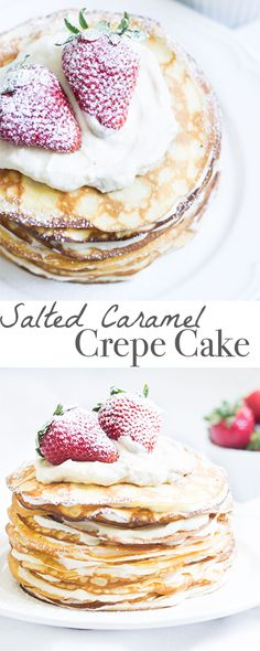 A cake made with salted caramel cream nestled between many layers of crepes. Absolutely irresistible! Recipe via MonPetitFour.com