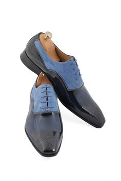 Handmade Navy Blue Leather and Sky Blue Suede Men Shoes