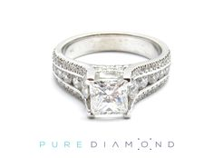 The lines of this setting will be especially easy to the eye. The multiple diamonds on the ring will set it apart. The clean design draws the attention towards the choice of a center diamond. Any Square shape diamond will look great in this ring; the round brilliant side diamonds add even more sparkle when looking sideways. At PureDiamond.ca we have unparalleled friendly service.  If you're in the Greater Vancouver, area please call (604) 563-9875 to book your appointment.