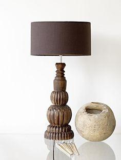 Lampfot Trä Snidad Brun 60 cm