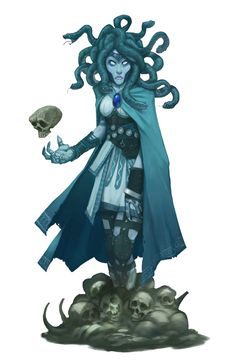 Blue Medusa - Pathfinder PFRPG DND D&D 3.5 5th ed d20 fantasy