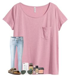 """""""bff's birthday today!"""" by taylorvel ❤ liked on Polyvore featuring H&M, Frame Denim, Birkenstock, blacklUp, LG, NARS Cosmetics, Maybelline and Ray-Ban"""
