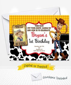 Toy Story Movie Woody Cowboy Birthday Invitations Printed with Envelopes or Digital Copy 24 Hr Turnaround! Cowboy party invitations