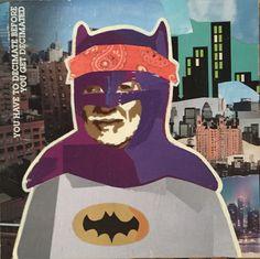Willie as Batman — 12 x 12in — Mixed Media on Board -- CONTACT: blacksheepranchatx@gmail.com