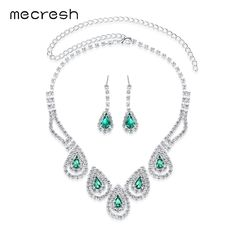 Mecresh Free Shipping Green Necklace Earrings Crystal Bridal Jewelry Sets Wedding Accessories TL008 #Affiliate