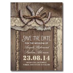 Rustic save the date postcards with two horse shoes, ivory lace, burlap cloth and old barn wood background. Amazing, charming save the date for western wedding, or country wedding in the barn, farm or ranch. This country save the date postcard is part of the rustic wedding set in my store.