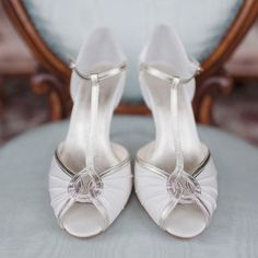 Mimi - vintage two part ivory satin peep toe with champagne leather t-bar and beautiful back detail - Rachel Simpson Shoes