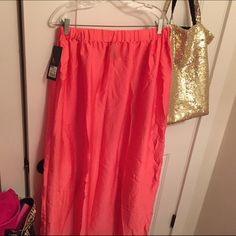Coral maxi skirt Cute bright coral maxi skirt. Soft silky material with stretchy waistband. NWT Mossimo Supply Co Skirts Maxi