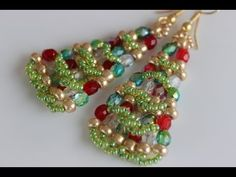 Christmas Tree Beaded Earrings with seed beads and 4mm beads