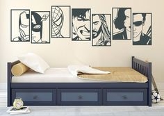Wall sticker carousel horse East Urban Home color: brilliant blue, size: large, Avengers Room, Marvel Room, Boy Room, Kids Room, Superhero Room, Wall Decals, Wall Sticker, Iron Man, Home Decor Bedroom