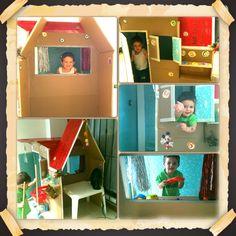 Casa de cartón - reutilizando material de desecho.  Carton house.
