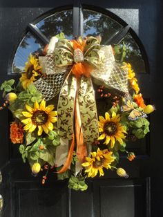 XL fall wreath front door wreath sunflowers wreath by ABlossomShop, $89.00