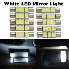 10 Xenon White 3 SMD 6641 LED Bulbs for Car Sun Visor Vanity Mirror Lights | eBay