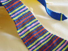 Stripy crocheted necktie scarf for funny retro by Crochetedbride