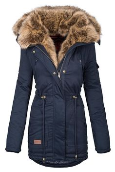1b58b97864adbc Navahoo warme Damen Winter Jacke Parka lang Mantel Winterjacke Fell Kragen  B380  B380-Navy-Gr.XL   Amazon.de  Bekleidung
