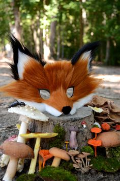 Faux Fox Fur Paper Mask handmade by Spirit Parade by SpiritParade